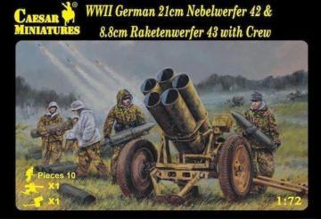 WWII German 21cm Nebelwerfer 42 & 8,8cm Raketenwerfer 43 with Crew · CAE H093 ·  Caesar Miniatures · 1:72
