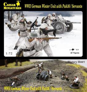 WWII German Winter Unit with Pak36 / Servants · CAE H097 ·  Caesar Miniatures · 1:72