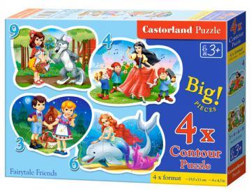 Fairytale Friends,4xPuzzle 3+4+6+9 Teile · CAS 005062 ·  Castorland