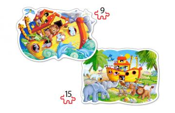 Noah´s Ark, 2x Puzzle (9+15) Teile · CAS 020089 ·  Castorland