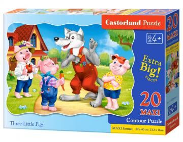 Three Little Pigs - Puzzle - 20 Teile maxi · CAS 023991 ·  Castorland