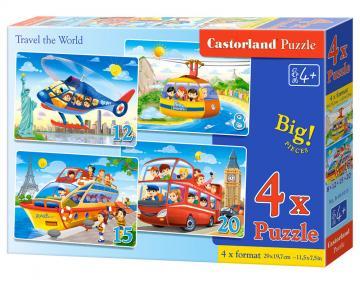Travel the World, 4x Puzzle(8+12+15+20) · CAS 0410152 ·  Castorland