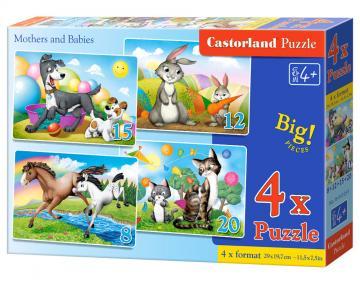 Mothers and Babies - 4xPuzzle (8+12+15+20) · CAS 041053 ·  Castorland