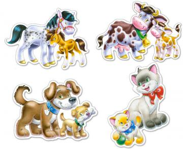 Animals with Babies, 4x Puzzle (4+5+6+7) · CAS 042182 ·  Castorland