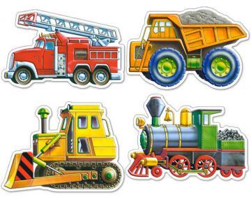 Vehicles, 4x Puzzle (4+5+6+7)Teile · CAS 042562 ·  Castorland
