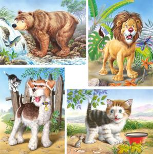 Animals, 4x Puzzle (8+12+15+20)Teile · CAS 042872 ·  Castorland