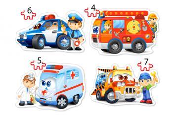 Rescue Services, 4x Puzzle (4+5+6+7)Teil · CAS 043932 ·  Castorland