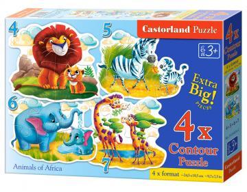 Animals of Africa,4 xPuzzle(4+5+6+7) · CAS 044542 ·  Castorland
