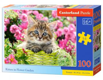 Kitten in Flower Garden - Puzzle - 100 Teile · CAS 111039 ·  Castorland