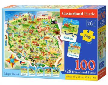 Landkarte von Polen,Puzzle 100+28 Teile · CAS 142 ·  Castorland