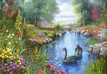 Black Swans,Andres Orpinas,Puzzle 1500 T · CAS 1510422 ·  Castorland