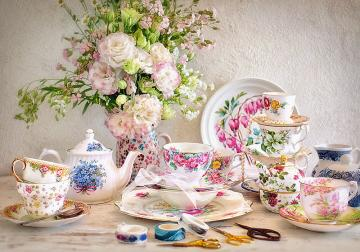 Still Life with Porcelain and Flowers - Puzzle - 500 Teile · CAS 53384 ·  Castorland