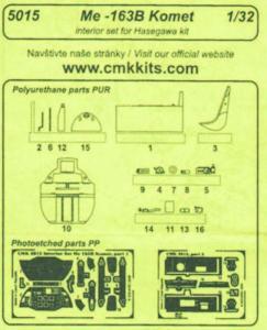 Me 163B - Interior set [Hasegawa] · CMK 5015 ·  CMK · 1:32