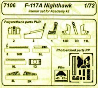 F 117A Nighthawk - Interior [Academy] · CMK 7106 ·  CMK · 1:72