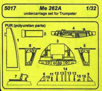 Messerschmitt Me 262 A - Undercarriage set [Trumpeter] · CMK C5017 ·  CMK · 1:32