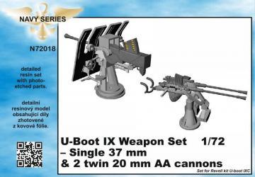 U-Boot IX Weapon Set - Single 37mm & 2 twin 20mm AA canons [Revell] · CMK N72018 ·  CMK · 1:72