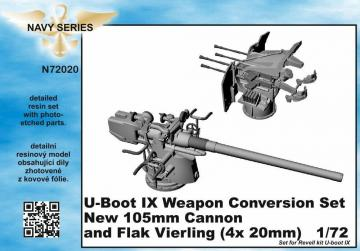 U-Boot IX Weapon - Conversion set - new 105mm cannon a.Flak Vierling [Revell] · CMK N72020 ·  CMK · 1:72