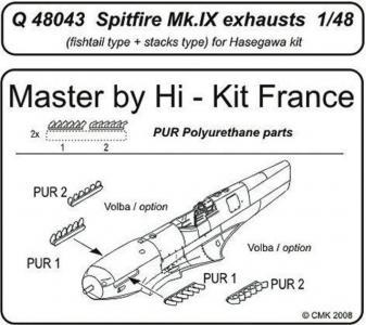 Spitfire Mk. IX - Exhausts [Hasegawa] · CMK Q48043 ·  CMK · 1:48