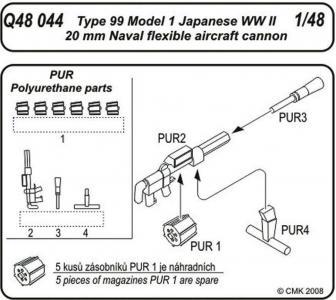 Japanese Navy flexible 20mm Type 99 Model 1 Cannon · CMK Q48044 ·  CMK · 1:48