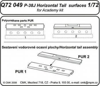 P-38J Lightning - Tail horizontal surfaces [Academy] · CMK Q72049 ·  CMK · 1:72
