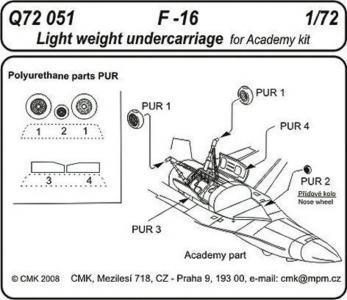 F-16 - Light weight - Undercarriage [Academy] · CMK Q72051 ·  CMK · 1:72