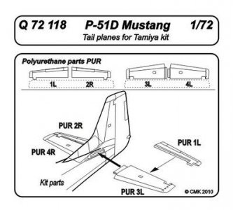 P-51D Mustang - Tail planes · CMK Q72118 ·  CMK · 1:72