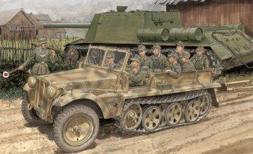SD.KFZ. 10 Ausf.B 1942 Production · DR 6731 ·  Dragon · 1:35