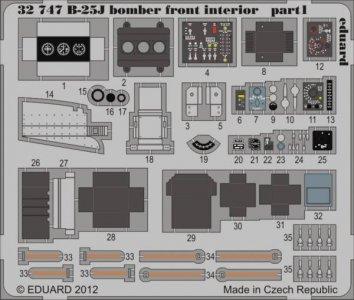 B-25J bomber front - Interior S.A. [HKM] · EDU 32747 ·  Eduard · 1:32