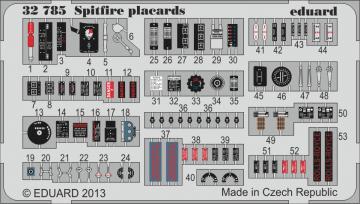 Spitfire - Placards · EDU 32785 ·  Eduard · 1:32