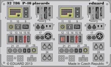 P-40 - Placards · EDU 32786 ·  Eduard · 1:32