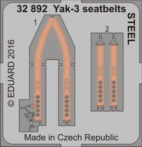 Yak-3 - Seatbelts STEEL [Special Hobby] · EDU 32892 ·  Eduard · 1:32
