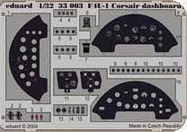 F4U-1 Corsair - Dashboard, Color · EDU 33003 ·  Eduard · 1:32