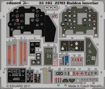 J2M3 Raiden - Interior S.A. [Hasegawa] · EDU 33105 ·  Eduard · 1:32
