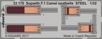Sopwith F.1 Camel - Seatbelts STEEL [Wingnut Wings] · EDU 33170 ·  Eduard · 1:32