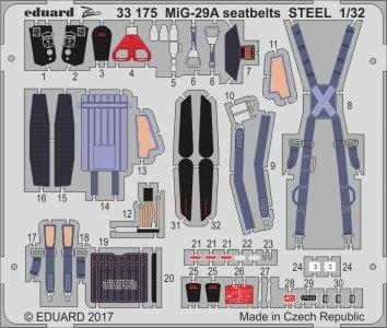 Russian MIG-29A Fulcrum - Seatbelts STEEL [Trumpeter] · EDU 33175 ·  Eduard · 1:32