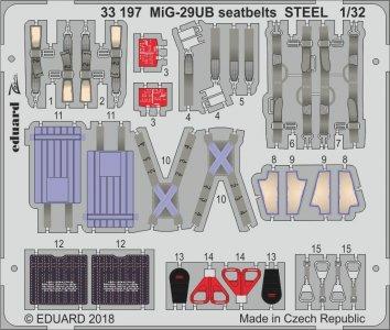 Russian MIG-29UB Fulcrum - Seatbelts STEEL [Trumpeter] · EDU 33197 ·  Eduard · 1:35