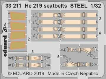 Heinkel He 219 - Seatbelts STEEL [Revell] · EDU 33211 ·  Eduard · 1:32