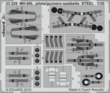 MH-60L Black Hawk - Pilots/gunners seatbelts STEEL [Kitty Hawk] · EDU 33229 ·  Eduard · 1:35