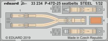 P-47D-25 Thunderbolt - Seatbelts STEEL [Hasegawa] · EDU 33234 ·  Eduard · 1:32