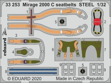 Mirage 2000 C - Seatbelts STEEL [Kitty Hawk] · EDU 33253 ·  Eduard · 1:32