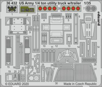 US Army 1/4 ton utility truck w/ trailer [Takom] · EDU 36432 ·  Eduard · 1:35
