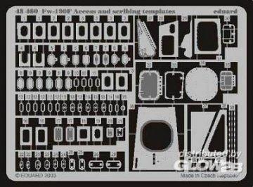 Focke-Wulf Fw 190 F Access and scribing templates · EDU 48460 ·  Eduard · 1:48