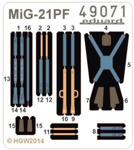 MiG-21PF - Seatbelts FABRIC · EDU 49071 ·  Eduard · 1:48