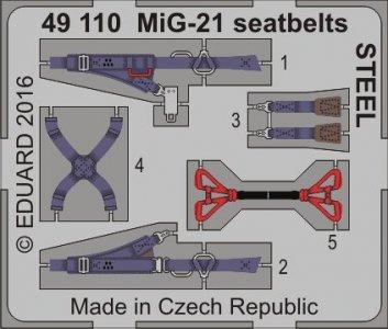 MiG-21 - Seatbelts STEEL · EDU 49110 ·  Eduard · 1:48