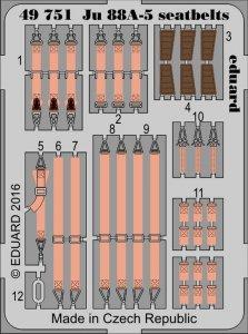 Junkers JU 88 A-5 - Seatbelts [ICM] · EDU 49751 ·  Eduard · 1:48