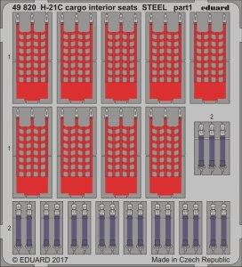H-21C Shawnee Flying Banana - Cargo - Interior seats STEEL [Italeri] · EDU 49820 ·  Eduard · 1:48