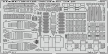 USS CV-5 Yorktown - Part 1 - Cranes & life boats [Merit] · EDU 53140 ·  Eduard · 1:350