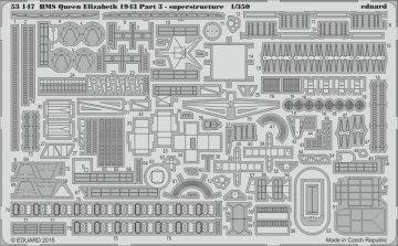 HMS Queen Elizabeth 1943 - Part 3 - Superstructure [Trumpeter] · EDU 53147 ·  Eduard · 1:350