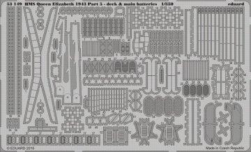 HMS Queen Elizabeth 1943 - Part 5 - Deck & main batteries [Trumpeter] · EDU 53149 ·  Eduard · 1:350