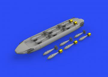 SUU-20 dispenser w/ BDU-33 & Mk.76 bombs · EDU 648566 ·  Eduard · 1:48